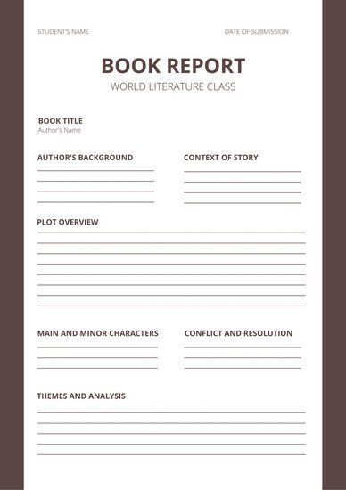 Printable Book Report Forms Middle School Books Book Report