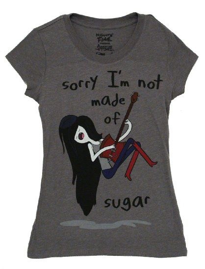Amazon.com: Adventure Time Marceline Sorry I'm Not Made of Sugar Juniors Gray T-shirt: Clothing