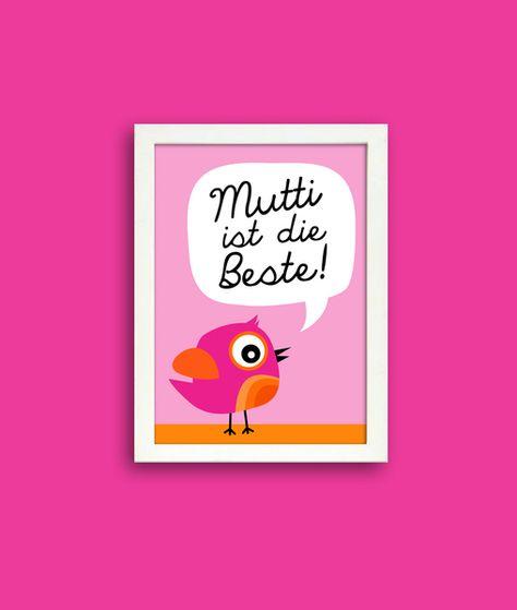 Mutti ist die Beste, Poster Ein tolles Geschenk zum Muttertag, oder einfach nur so - für die besten Mamas der Welt   Poster, DIN A4 von wandrausch auf DaWanda.com #Muttertag #Geschenk #Poster #Spruch #Mutti ist die Beste