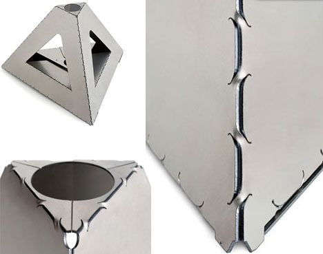 Metal Origami Flat Pack Sheets Form Super Strong Shapes Idee Per L Illuminazione Lamiera Idee