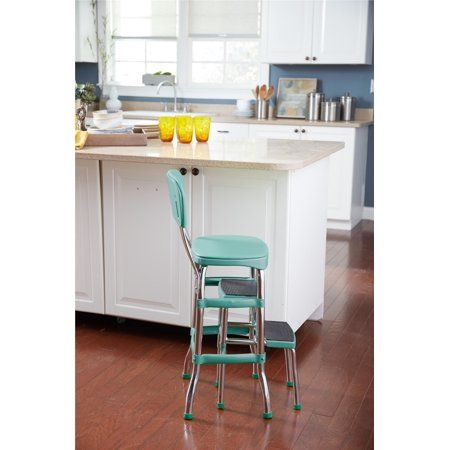 Cosco Stylaire Retro Chair Step Stool With Sliding Steps Turquoise Walmart Com Kitchen Step Stool Retro Chair Counter Chairs