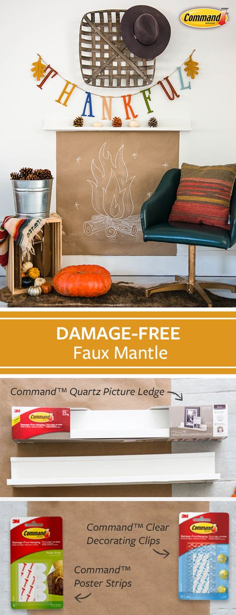 Fall is here which makes it the perfect time to cozy up by the fireplace and read a book. Create your very own damage-free, fall-themed faux fireplace mantel by using Command™ Quartz Picture Ledge, Command™ Clear Decorating Clips, and Command™ Posture Strips. #DamageFree
