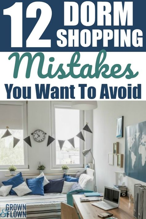 Shopping for dorm room supplies when your child goes off to college can be overwhelming. Don't make the same mistakes that we made when shopping for our own kids. Here are 12 mistakes you might be tempted to make while dorm room shopping, and how to avoid them. #dorm #dormroomideas #dormroomsupplies #college #collegedorm #schoolsupplies #university #offtocollege #dormroomtips #teens #teenagers