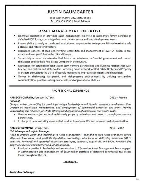 Asset Management Resume Example Asset management, Resume - configuration management plan template