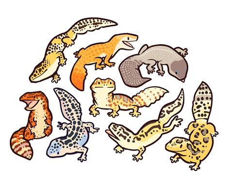 "pinkyisblue: "" malkshake: "" Quick pattern with cute geckos For free non commercial use if you're into the cutes (just, y'know, if you do give credit or link back to my page) "" I tell you what it is so. Cute Lizard, Cute Gecko, Leopard Gecko Cute, Cute Animal Drawings, Cute Drawings, Arte Punk, Character Art, Character Design, Cute Reptiles"