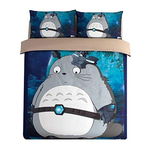 Fxwj Cartoon Animal Totoro Duvet Cover 3 Pieces Bedding Set Down Comforter Microfiber Quilt Covers Li Sheets Duvet Cover Kids Bedroom Sets My Neighbor Totoro