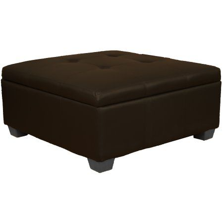 Timeless 36 Inch Large Square Tufted Padded Hinged Storage Ottoman Bench Leather Look Brown Size 36 Inch Square Square Storage Ottoman Storage Ottoman Bench Ottoman