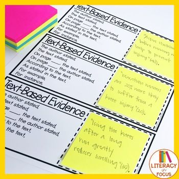 Text Based Evidence Cards Text Based Evidence Instructional Resources Text Evidence