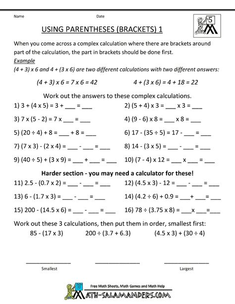 Math Worksheets 5th Grade Exponents And Parentheses Homeschool