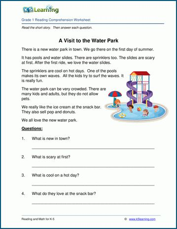 A Visit To The Water Park Grade 1 Children S Story K5 Learning Reading Comprehension Worksheets Comprehension Worksheets Reading Comprehension Kindergarten