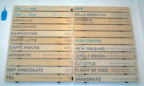 Blue Bottle Coffee WC Morse café menu Blue bottle coffee, Menu - coffee menu