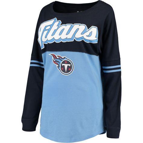 5th   Ocean by New Era Tennessee Titans Women s Navy Light Blue Athletic  Varsity Long Sleeve T-Shirt 30901f179