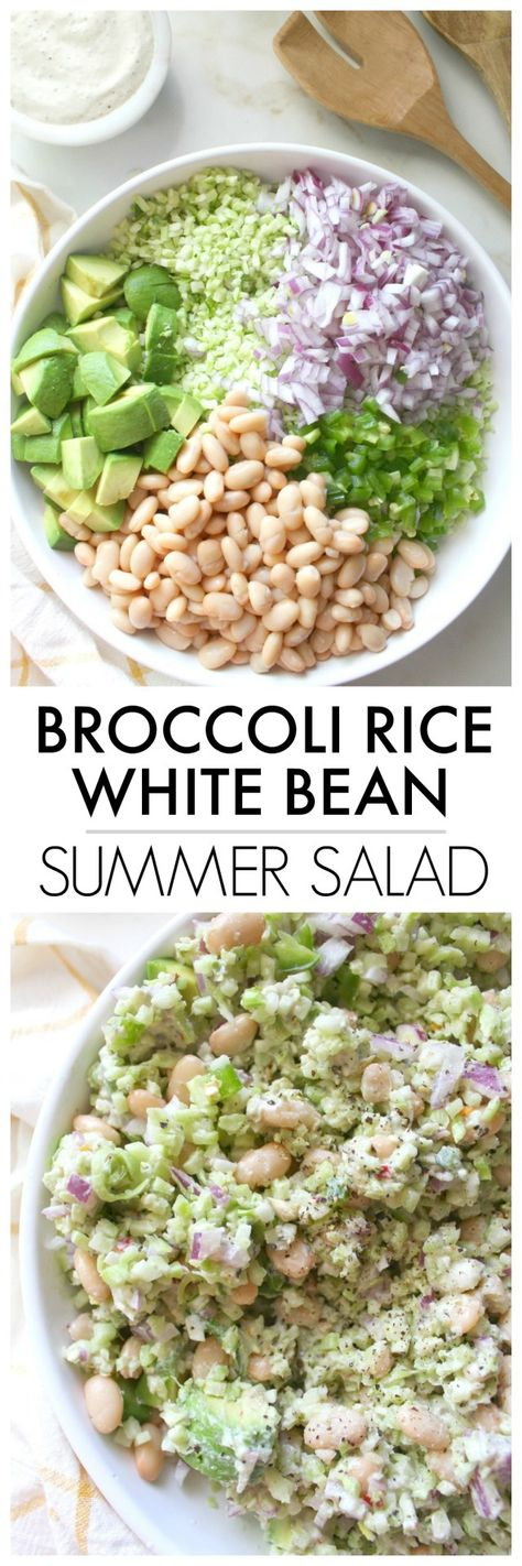 This delicious Broccoli Rice White Bean Summer Salad is a healthy combo of veggies and beans tossed in a creamy tahini dressing. Serve this in place of coleslaw at your next BBQ | ThisSavoryVegan.com #thissavoryvegan #summersalad #vegan