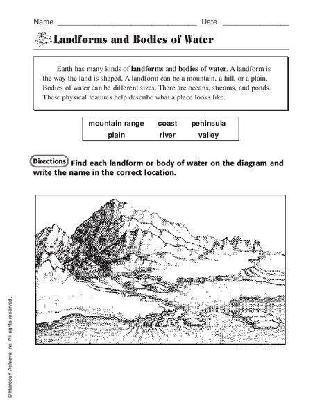 Landforms Worksheet Middle School Landforms Worksheet School Worksheets Geography Worksheets Landform worksheets 4th grade