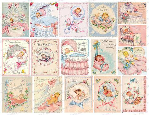 BABY Vintage Cards, Baby Images, Digital Download ]Printable Baby Ephemera Digital Collage Sheet Printable Cards Digital Download 2793