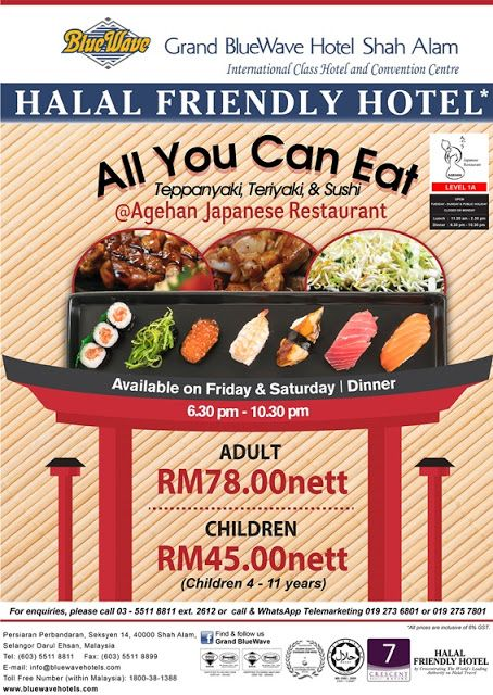 All You Can Eat Japanese Buffet Agehan Japanese Restaurant Grand Blue Wave Hotel Shah Alam Japanese Buffet Japanese Restaurant Malaysian Food