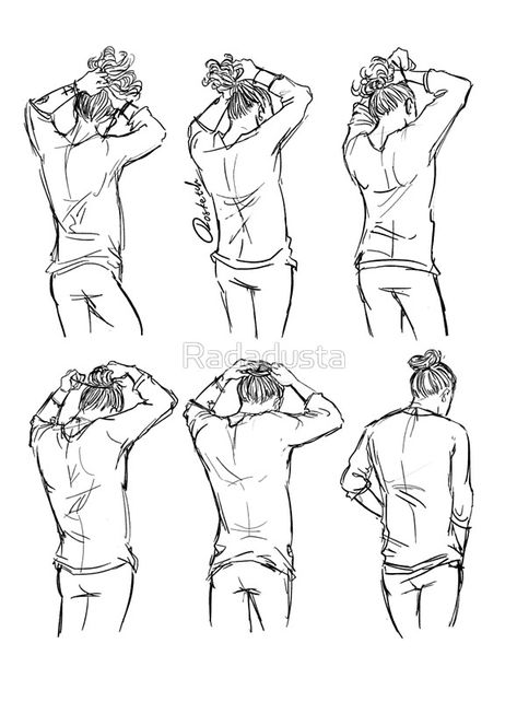 How to create the perfect man bun by Harry Styles Hair Reference, Drawing Reference Poses, Drawing Poses, Hair And Beard Styles, Long Hair Styles, Man Bun Hairstyles, Harry Styles Drawing, Perfect Bun, Carpe Koi