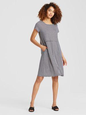 Organic Linen Jersey Stripe Dress S8izv D4226 Casual Dress Dresses Womens Skirt