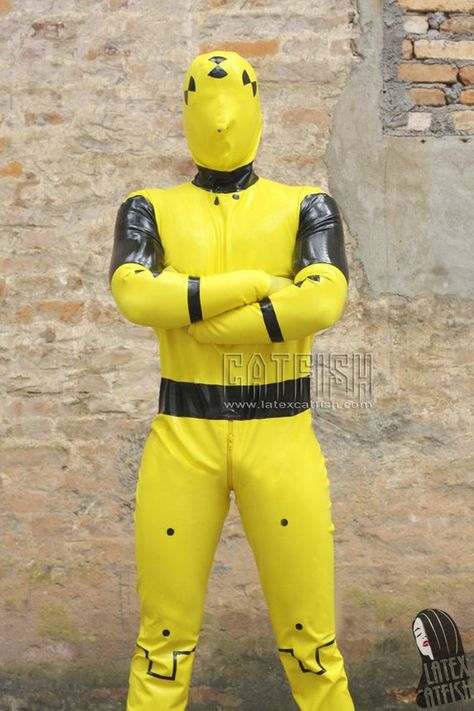 Fully Closed Tight Fit Rubber Latex BioChemica Catsuit with Attached Hood, Gloves and All