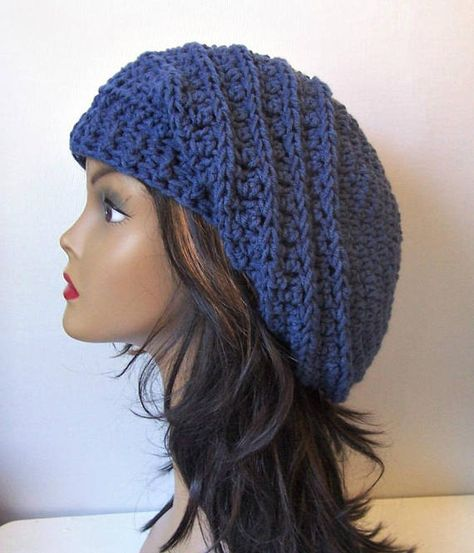 a4c1d41e4cf Crocheted Slouchy Beanie Navy Blue Dark Blue Slouchy Hat ...
