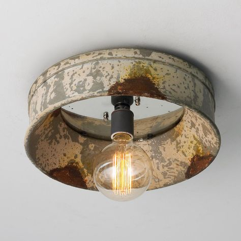 """Weathered Porthole Mirror Ceiling Light. Perfect for the beach. Vintage, distressed finish, rust and antique mirror. Shabby chic or coastal / beach light. Small 4"""" x 12"""""""