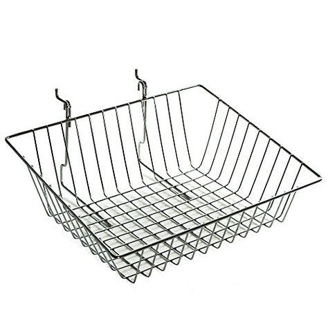 Azar Displays 300624-2pack Sloped Wire Basket, Chrome