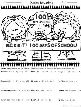 100th Day Of School Activity Solving Equations Color By