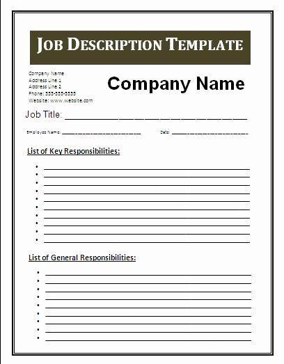 Job Search Plan Template Fresh Job Description Template Google