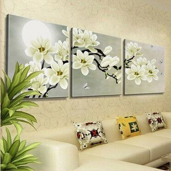 Wall Hangings Set Of 3 Panels Canvas Decorative Orchid Print Home Wall Artwork Paintings Home Furniture Diy Cruzeirista Com Br