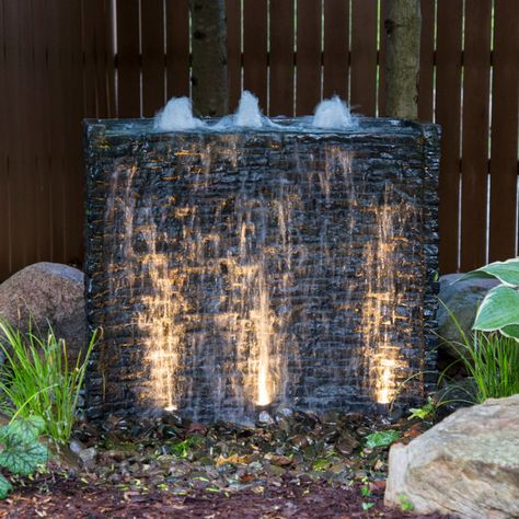 Aquascape Stacked Slate Spillway Wall Water Feature Image 2 of 3 Outdoor Water Features, Water Features In The Garden, Wall Water Features, Water Wall Fountain, Backyard Water Feature, Diy Water Feature, Water Falls Backyard, Modern Water Feature, Backyard Waterfalls