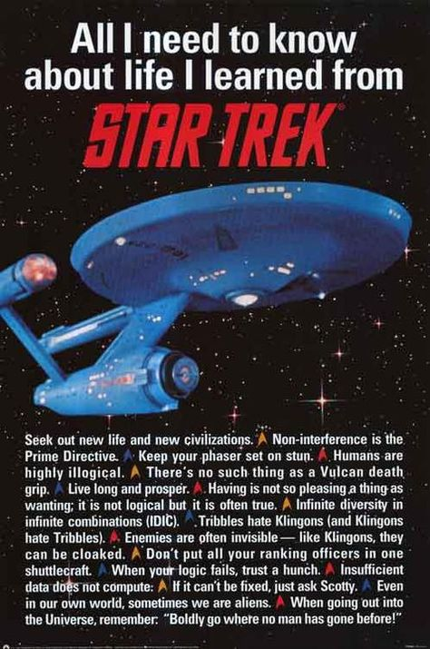 All joking aside, I learned many important life lessons from Star Trek and look back to its quotes for guidance often.