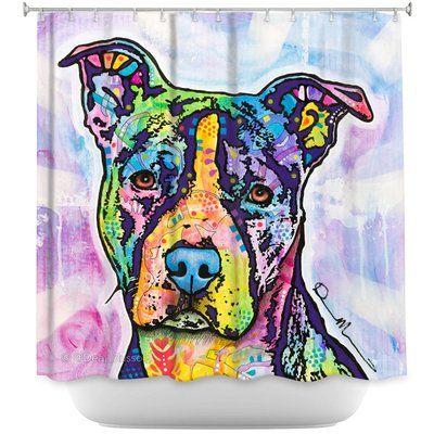 Latitude Run Maltare Illustrious Pitbull Dog Single Shower Curtain Prints Art Dog Rooms