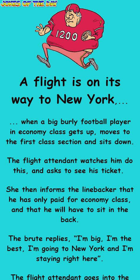The football player refuses to leave first class - 'til this happens