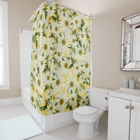 White Daisies Daisy Flower Yellow Bright Cheerful Shower Curtain