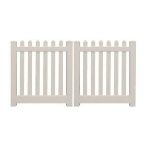Weatherables Plymouth 10 Ft W X 3 Ft H Tan Vinyl Picket Fence Double Gate Kit Includes Gate Hardware Dtpi 3r5 5 3x60 The Home Depot In 2020 Gate Kit Vinyl Picket Fence Gate Hardware