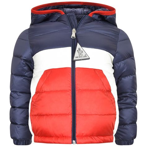 ab2203801 Moncler Baby Boys Navy & Red Down Padded Gatien Jacket | верхняя ...