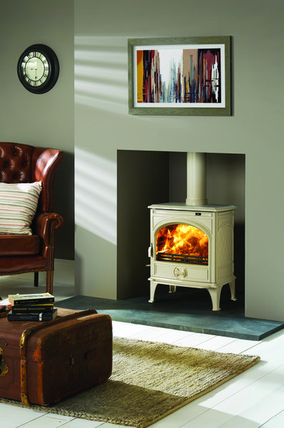Dovre 425 Multi Fuel In Ivory White Enamel Wood Burning Stove Multi Fule Stove F Log Burner Living Room Wood Burning Stoves Living Room Wood Burner Fireplace
