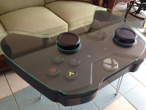 Handmade Game Controller Table, XBOX One inspired - Handmade coffee table inspired by the Xbox One gaming controller. Steel hairpin legs shown in the p - Game Controller, Deco Gamer, Video Game Rooms, Video Game Decor, Video Game Man Cave Ideas, Video Game Table, Video Game Bedroom, Video Games, Game Ideas