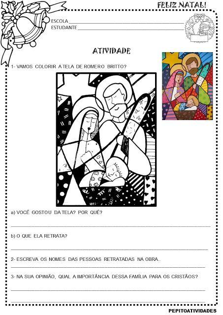 Atividade Artes Romero Britto Natal Cristao Atividades De Arte