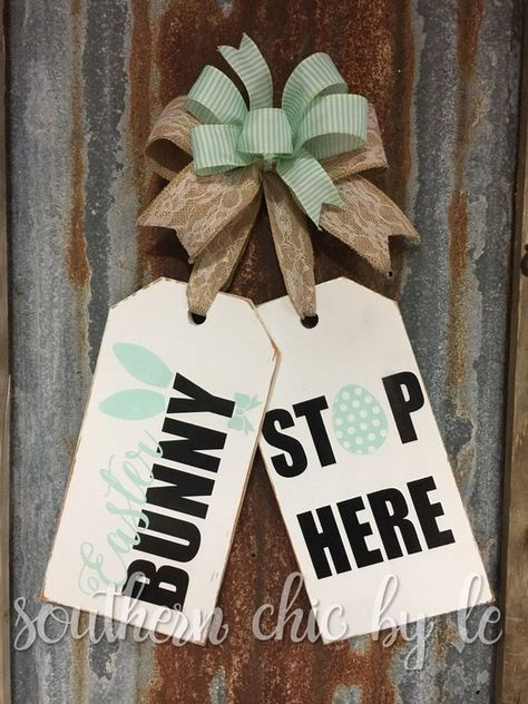 Large Wooden Door Tags Easter Bunny Stop Here Wreath Alternative