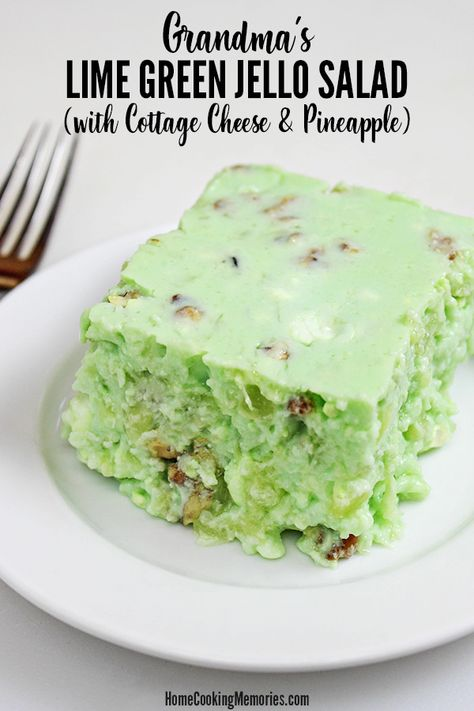 Grandma's Lime Green Jello Salad Recipe (with Cottage Cheese & Pineapple) Grandma& Lime Green Jello Salad Recipe (with Cottage Cheese & Pineapple) is a retro gelatin salad made by husband& grandma for many holiday meals. Green Jello Salad, Lime Jello Salads, Fruit Salads, Lime Jello Recipes, Fruit Jello, Jello Gelatin, Gelatin Recipes, Jello Cake, Jello Molds