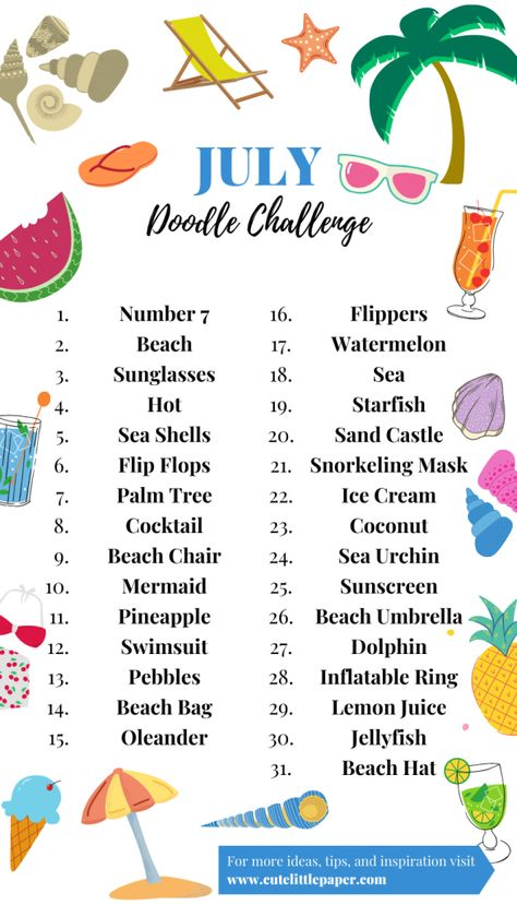 July Doodle Challenge - Summer Drawing Prompts - Cute Little Paper