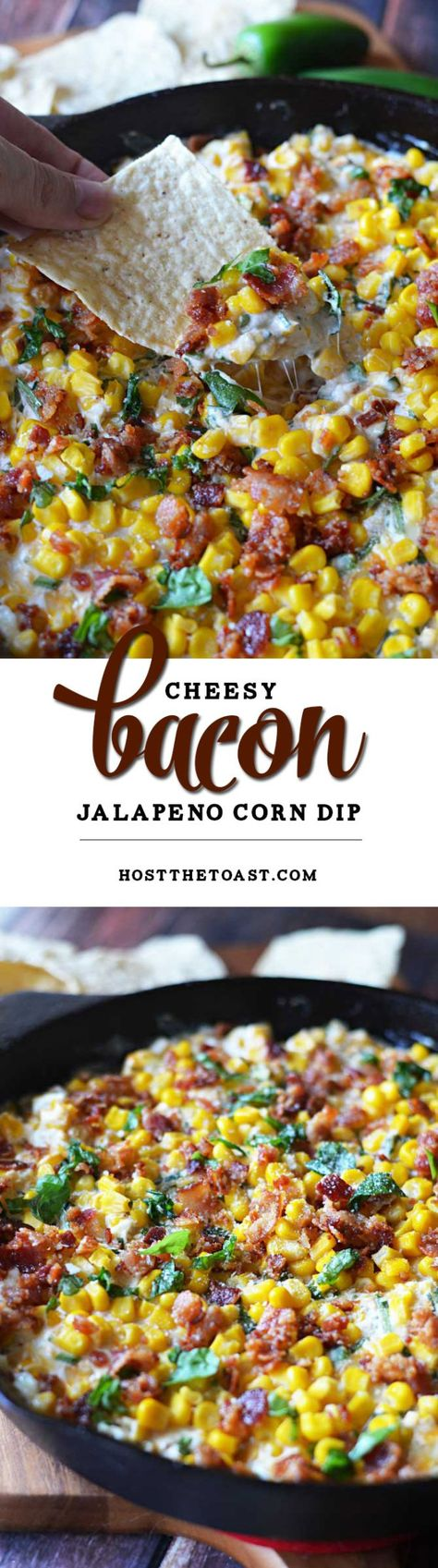 Cheesy Bacon Jalapeno Corn Dip. The sprinkle of basil seems weird but it's SO AMAZING. This is a new football Sunday must-have!