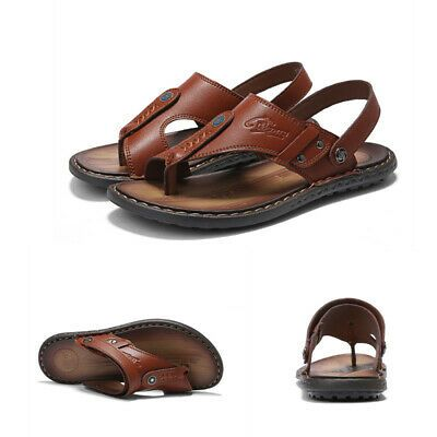Mens Sport Leather Sandals Shoes Summer Beach Open toed Outdoor Casual Slippers