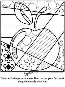 Beruhmte Malerarbeiten Und Malvorlagen Fur Die Vorschule Apple Coloring Pages Pop Art Colors Art For Kids