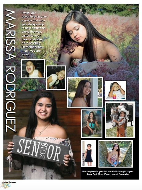 2 large images, Full page Senior yearbook tribute design custom