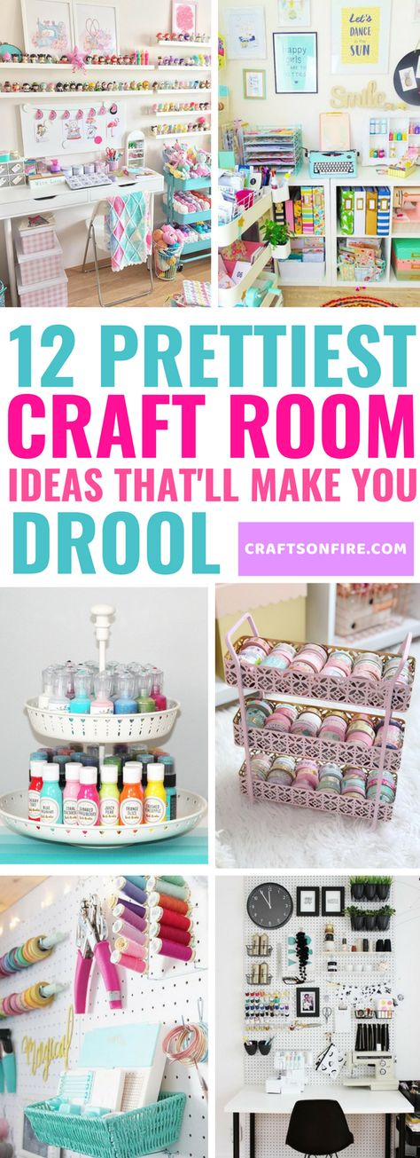 you love craft rooms? Then just wait till you've seen these stunning craft rooms! It will inspire you to a whole new level. Also has some of the BEST ways to organize your craft room and brilliant ideas to make the best out of a small space.