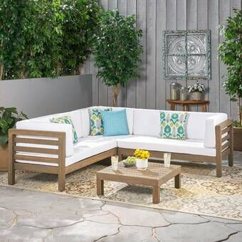 Gleisner 6 Piece Sectional Seating Group With Cushions Patio Sectional Wood Patio Outdoor Sofa Sets