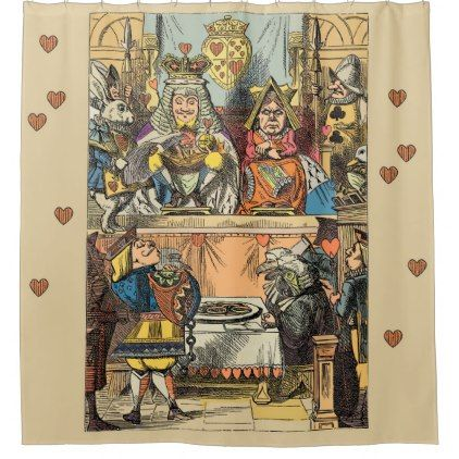 Antique Print Of The Alice In Wonderland Courtroom Shower Curtain