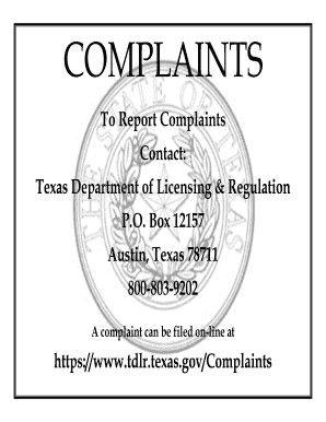TDLR complaint sign | massage forms | Signs, Massage